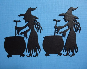 Witches with Cauldron Embellishments x 2 for Scrapbooking Cards and Paper Crafts Halloween Witch Card Topper