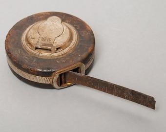 SALE... Vintage metal tape measure, ruler, measuring tool Stabil Kapsel 10 meter