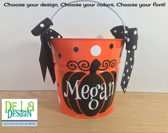 Halloween bucket: Personalized halloween trick or treat metal bucket, 2 quart toddler size pail, name over pumpkin design, candy bag, basket