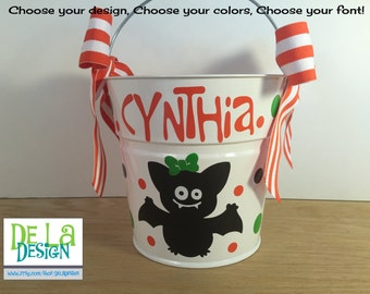 Halloween bucket: Personalized halloween trick or treat metal bucket, 2 quart toddler size pail, girl bat design, candy bag, basket
