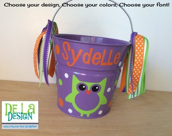 Halloween bucket: Personalized halloween trick or treat metal bucket, 2 quart toddler size pail Owl or other design, candy bag, gift basket
