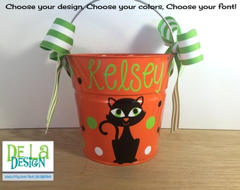 Personalized halloween trick or treat metal bucket, 2 quart toddler size pail, fancy cat design, other colors available, candy bag, birthday