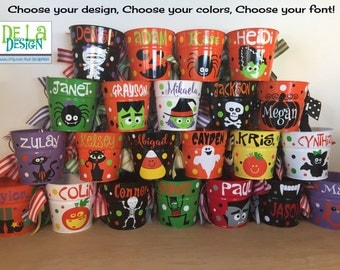 Personalized halloween trick or treat metal bucket, 2 quart toddler size pail, lots of colors and designs available, candy bag, birthday