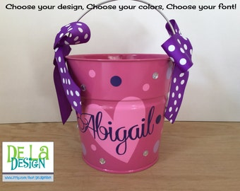 Personalized metal bucket, 2 quart, Valentine's Day or match your costume trick or treat bucket, pink, other colors, designs available