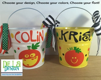 Personalized halloween trick or treat metal bucket, 2 quart toddler size pail, funky or cute pumpkin design, candy bag, gift basket