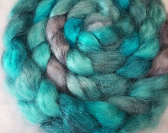 Hand Dyed Young Mohair Top  -  4 ounces - Turquoise and Silver Grey