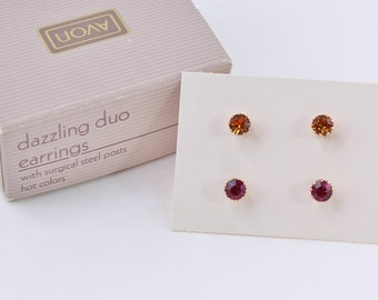 Vintage 1980 Signed Avon Dazzling Duo Goldtone Dark Pink Faux Topaz Orange Prong Set Classic Stud Pierced Earrings in Original Box NIB