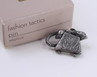 Vintage Signed Avon Fashion Tactics Antiqued Silver Pewter Tone Party Line Telephone Rotary Dial Phone Scatter Pin Brooch Original Box NIB