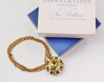 Vintage 1974 Avon Sun Brilliants Faux Peridot Green Gold Tone Glass Rhinestone Flower Chain Necklace Convertible Brooch Original Box NIB