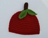 Crochet Apple Baby Hat- Newborn Fall Hat- Newborn Photo Prop- Red Apple Hat- Infant Hat-Fruit Hat-Red Hat, - Photo Prop-