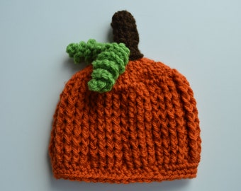 Crochet Baby Pumpkin Hat  -Photo Prop