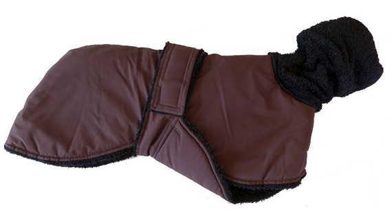 Heavy Burgundy Winter Dog Coat With Extra Warm Fleece Interior