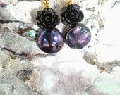 Black Glass Rose Blue Pearl Earrings