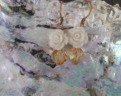 Liquid Amber Swarovski Cut Glass with White Rose