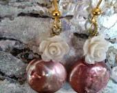 Pink Pearl Whte Rose Earrings