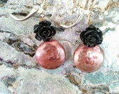 Pink and Black Pearl and Rose Dangle Earrings