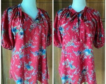 Vintage 70s Top Floral Puff Sleeves Gathered Neckline Ascot Tie Secretary Casual Blouse M  40 bust