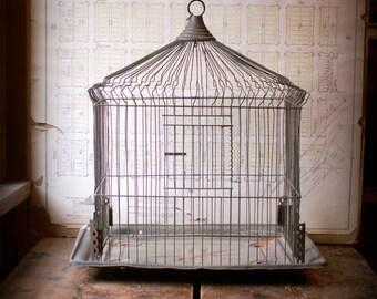 Vintage British Rectangular Brass Birdcage - Great Vintage Wedding Decor!