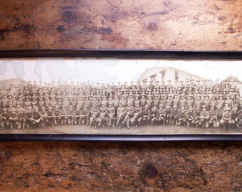 Vintage WWI Military Framed Yard Long Photograph - M Company, 362nd Infantry, Camp Lewis, Washington