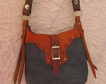 70's Vintage Hippie Leather Red White and Blue Purse