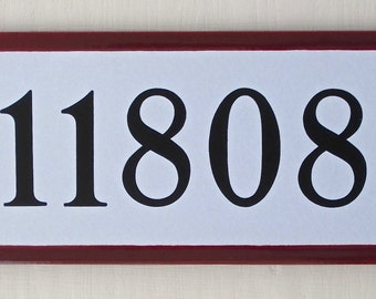 House Number Tile Address Plaque Burgundy Border