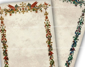 Dragon Digital Paper Stationery Printable Download Pages for Weddings Parties Invitations Renaissance Dragon Illumination Border 718