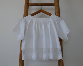 Vintage French white lace children blouse