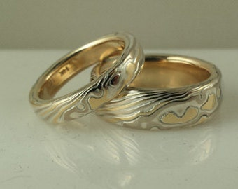 18k yellow gold 14k palladium white gold with sterling silver etched mokume gane wedding band