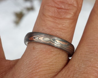 Mokume gane wood grain wedding band 14k white gold, 14k red gold with etched silver