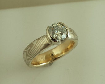 Mokume Gane Solitaire Engagement Ring with half bezel 14k White Gold and Sterling