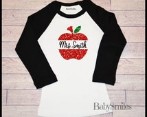 Personalized GLITTER Chevron Apple Teacher Shirt, ADULT Raglan Shirt, Personalized Shirt, Teacher Gift, Perfect for All School Activities