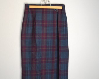 Vintage 90s Eddie Bauer Wool Long Burgundy Red Green Plaid Wrap Skirt // womens size 8 ~ New with tags