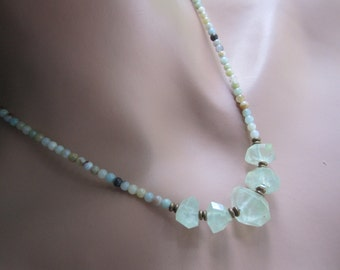 Watercolors Simple, Earthy Everyday Necklace Prehinite/Green Amethyst and Amazonite Necklace