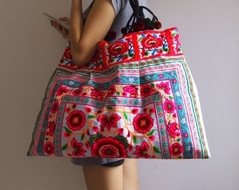 Thai Hmong Bag Ethnic Old Vintage Style Tote Shoulder Bag From Embroidered Fabric