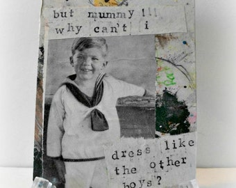 Mummy Mixed Media Art Tag, Gift Tag, Vintage Magazine, Original Collage Tag, Recycled Paper OOAK Art Tag, Altered Art, Original Mixed Media