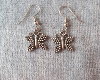 Butterfly Silver Pewter Dangle Earrings