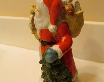 Vintage Santa Claus With Toy Sack And Tree