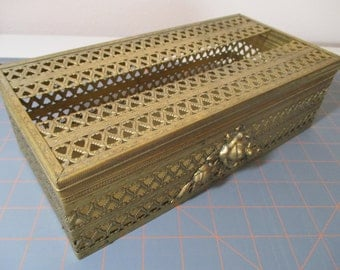 Vintage Tissue Box in Gold Tone Filigree And Lidded With Hearts/Roses