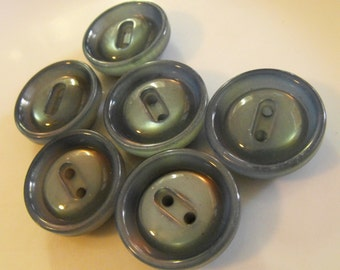 """6 Gray Blue Shiny Round Buttons Size 1 3/16"""" Sewing Crafting"""