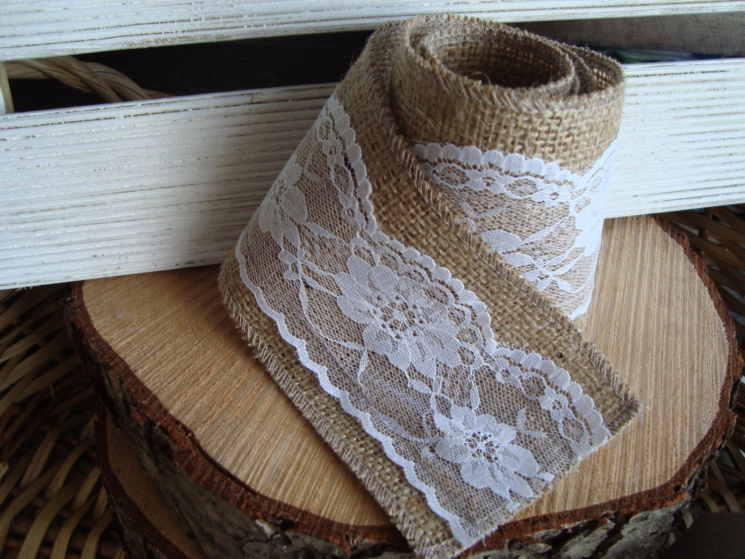 3 5 Burlap Lace Ribbon Trim Rustic Wedding Decor