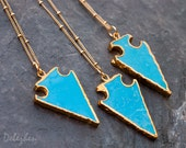Turquoise Arrowhead Necklace - Satellite Gold Beaded Chain - Layering Necklace - Bohemian Necklace - Boho Hippie Chic
