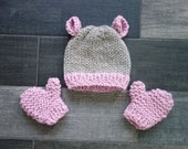 Baby Bear Knit Hat and Matching Mitten Set / Blossom and Linen /