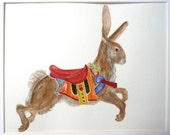 Original Watercolor Carousel Hare Carousel Rabbit Nursery Decor
