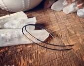 Oxidized Hoop Earrings, Gold Black Earrings, Mixed Metal Earrings, Futuristic Wire Earrings, Modern Rustic Earrings