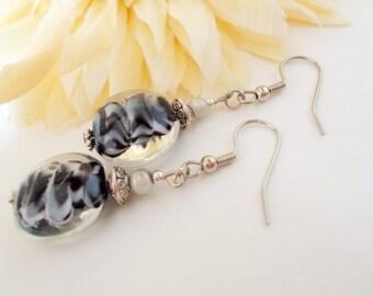 Lampwork Earrings, Black White Earrings, Silver Black Jewelry, Black Silver Earrings, Statement Earrings, Dark Gray Earrings, Gifts For Her