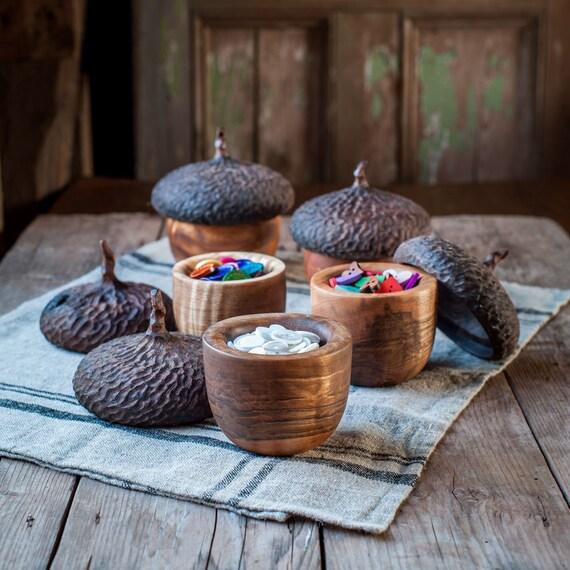 Woodland Acorn Button Box, Keepsake Box, Jewelry Storage, Wood Box, Gift Under 100, Naturalist