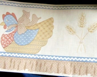 Cute Little Hen Sitting on a Ruffled Boarder Topped with a Row of Rick Rack In Blues, Creams, and Tan Border Wallpaper Border, Vintage