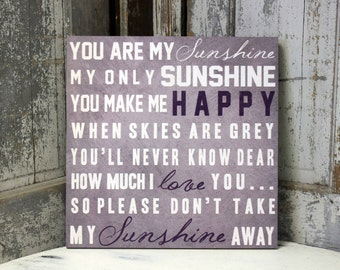 Personalized Baby Gift You Are My Sunshine You Make Me Happy Typography Baby Shower Gift Nursery Decor Wall Art