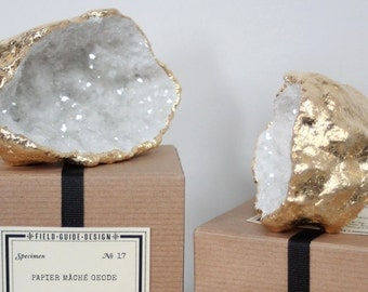 Handmade Papier Mache Geodes with Gold Leaf and German Glass Glitter