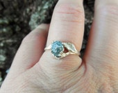Bright rose-Unconventional-Mounted-snow white- raw rough blue diamond - solitaire-promise- engagement ring-and wedding band set.
